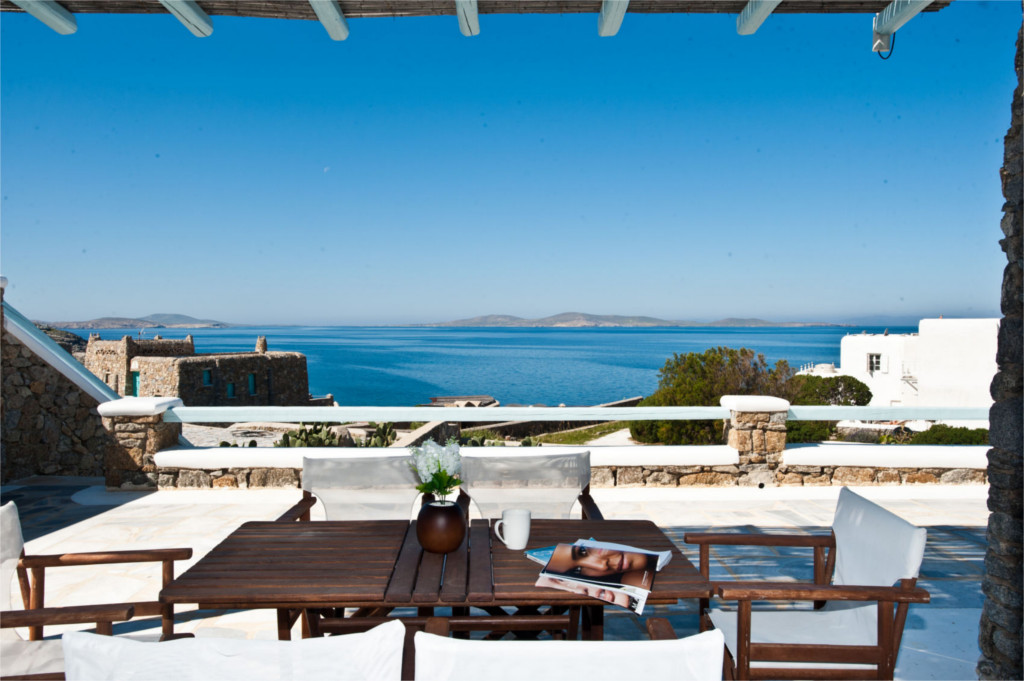 Patio with beautiful view of the Aegean